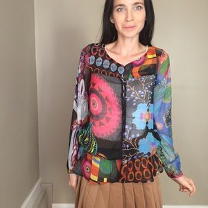 Desigual Colorful Sheer Long Sleeve Button Up Top